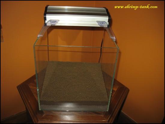 Shrimp-Tank.com Iwagumi shrimp cube. Adding light now